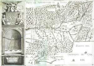 Mapa de Thomás López del año 1787, en el que aparecen las Nuevas Poblaciones con los nombres que son conocidas en la actualidad, entre ellas Guarromán