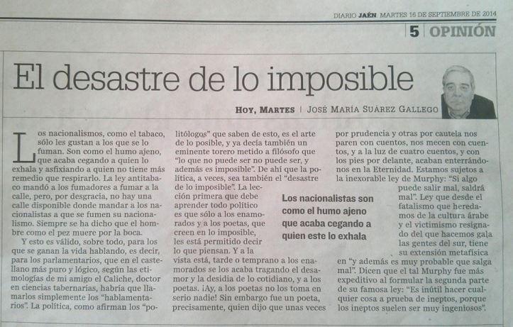 EL DESASTRE DE LO IMPOSIBLE (Artículo en Diario Jaen)