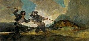 """""""Duelo a garrotazos"""". De Francisco de Goya."""