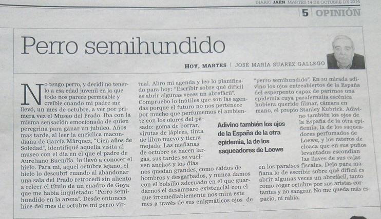 Perro semihundido, artículo en Diario Jaén.