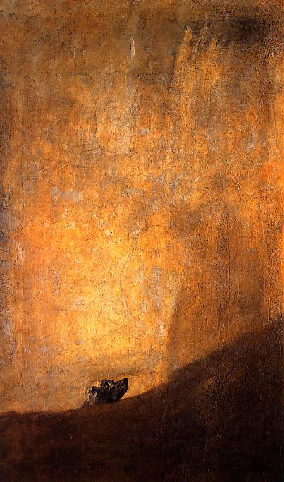 Perro semihundido en la arena. Francisco de Goya.