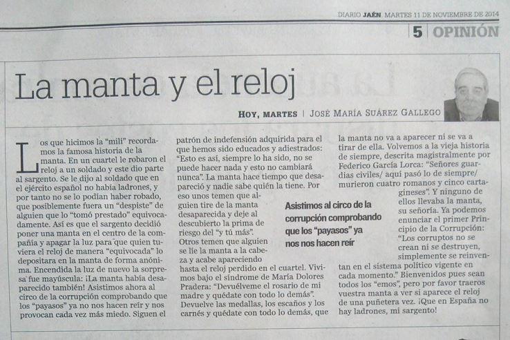 LA MANTA Y EL RELOJ. PUBLICADO EN DIARIO JAÉN.