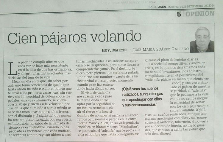 CIEN PÁJAROS VOLANDO ARTICULO EN DIARIO JAEN 09-12-14