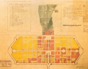 Plano de la ciudad proyectada para La Carolina después de su fundación en el año 1767.