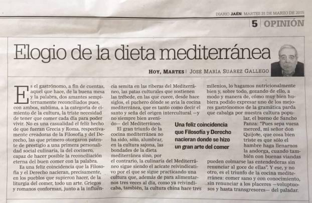 DIETA MEDITERRANEA EN DIARIO JAEN