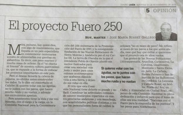 artículo Fuero 250 en Diario Jaen