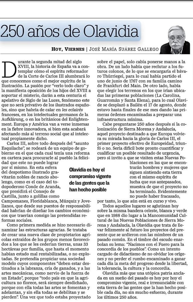 250 AÑOS DE OLAVIDIA EN DIARIO JAEN
