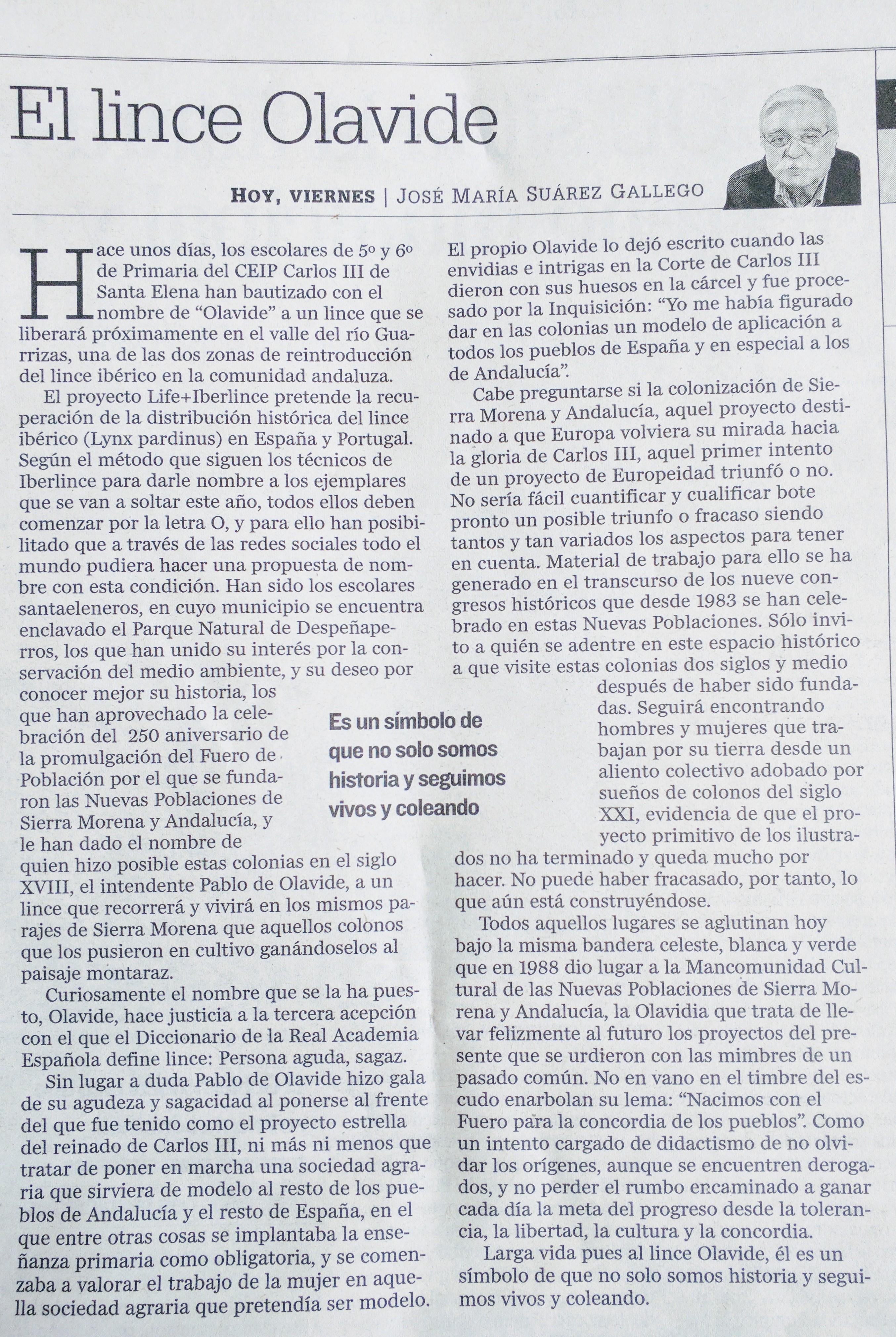 ARTICULO DEL LICE OLAVIDE EN DIARIO JAEN