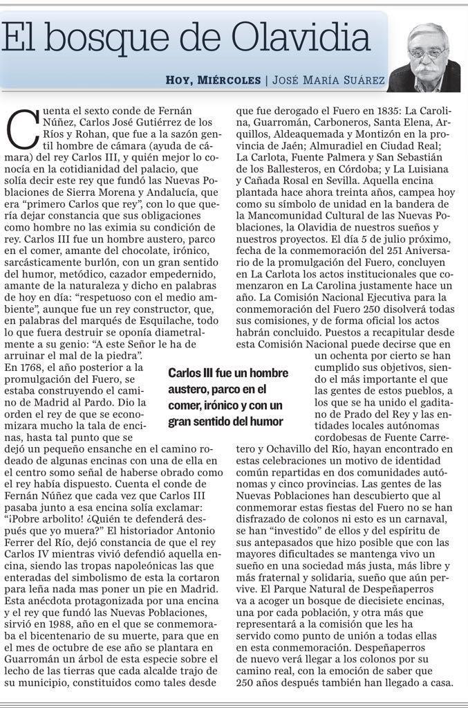 ARTICULO EL BOSQUE DE OLAVIDIA FOTO DEL MISMO EN EL DIARIO JAEN